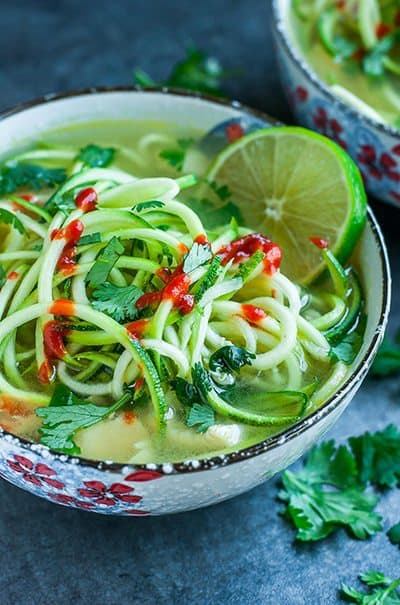 Spicy Sriracha Lime Chicken Zucchini Noodle Soup in a bowl