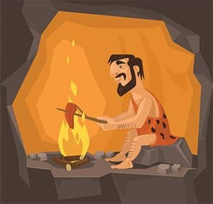 Caveman toasting meat on fire