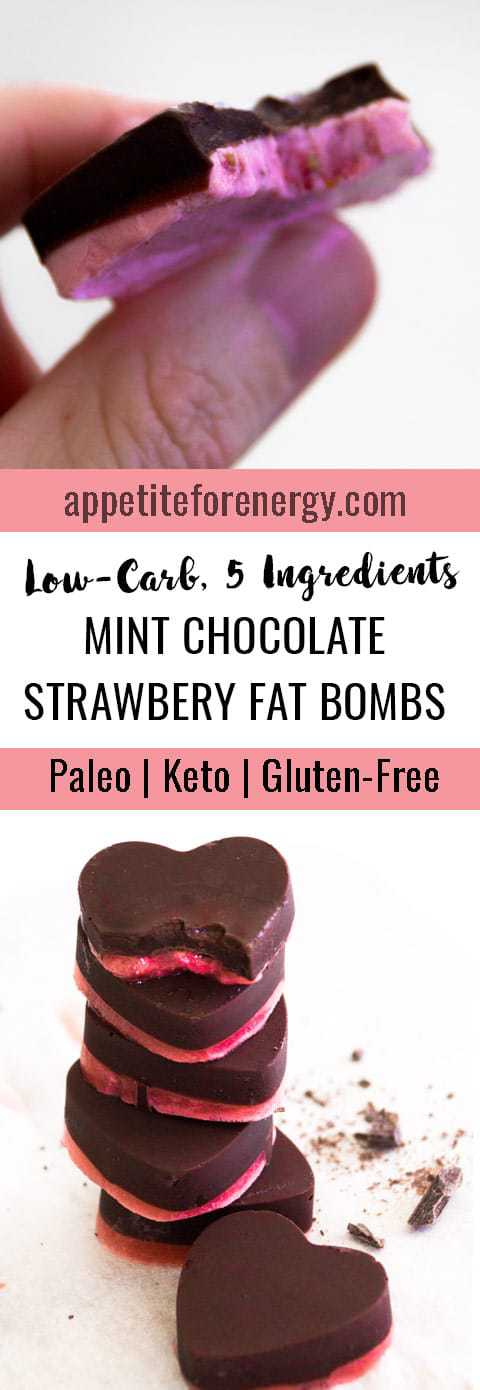 Low-Carb Mint Chocolate Strawberry Fat Bombs in a stack and hand holding a fat bomb with bite