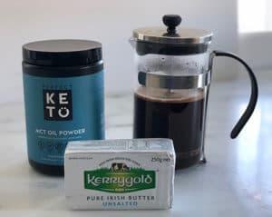Ingredients for Bulletproof Coffee - MCT oil powder, butter, brewed coffee