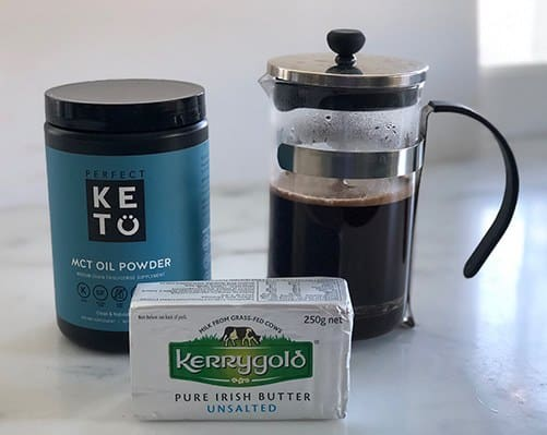 Ingredients for Bulletproof Coffee - MCT oil powder, butter, brewed coffee