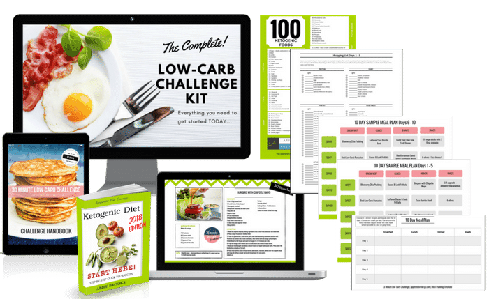 Challenge kit -meal plans, templates, eBooks shown on ipads and PC
