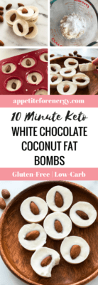 Keto White Chocolate Coconut Fat Bombs - ingredients in bowl, fat bombs setting in molds