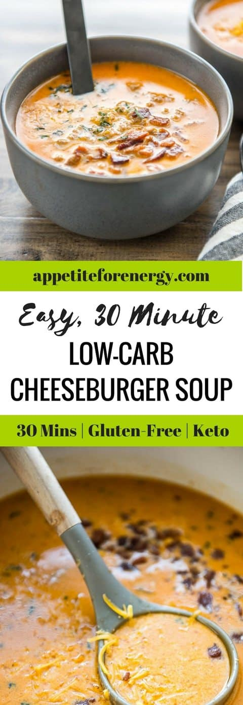 If you're having a busy day or week, then Easy Low Carb Cheeseburger Soup will revive your soul with just one pot, 30 minutes and maybe a little bacon. Low-carb cheesburger soup |ketogenic diet cheeseburger soup|bacon cheeseburger soup | easy cheeseburger soup| gluten free soup #LowCarbCheesburgerSoup |#KetogenicDietCheeseburgerSoup|#BaconCheeseburgerSoup| #EasyCheesburgerSoup| #GlutenFreeSoup #KetoSoup