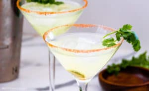 Low-Carb Spicy Margarita in a martini glass with cilantro garnish