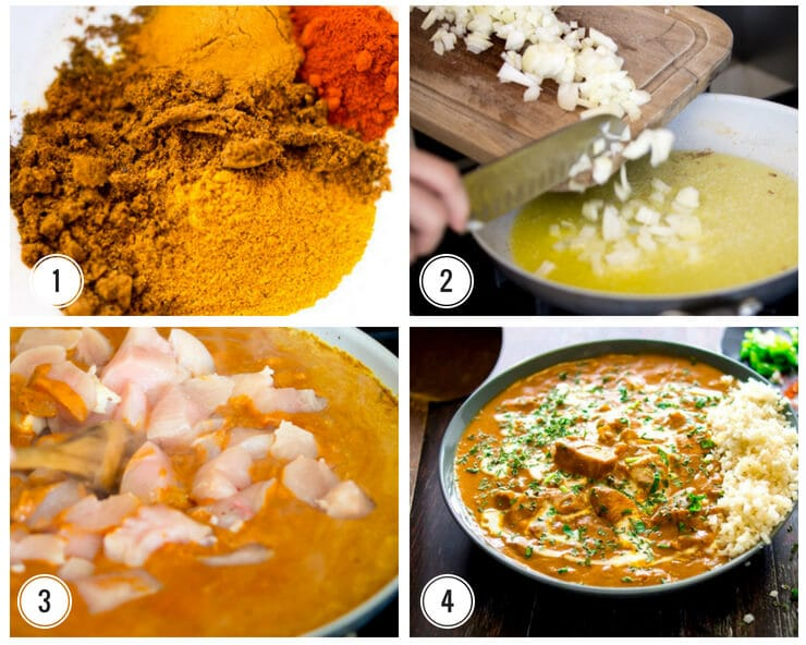 Collage showing proces of making butter chicken - the Spices used, chopping onions, adding chicken to curry and final dish with cauliflower rice