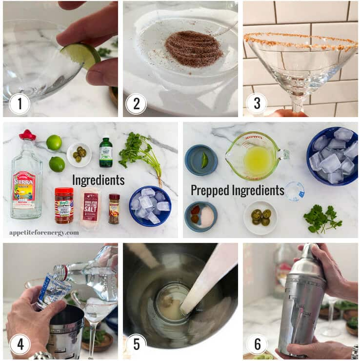 Collage showing process of making Spicy Margarita - running lime around rim, dipping rim into spice mix, glass with spicy salt rim, muddling the lime & jalapeno, shaking the cocktail up. Ingredients also shown.