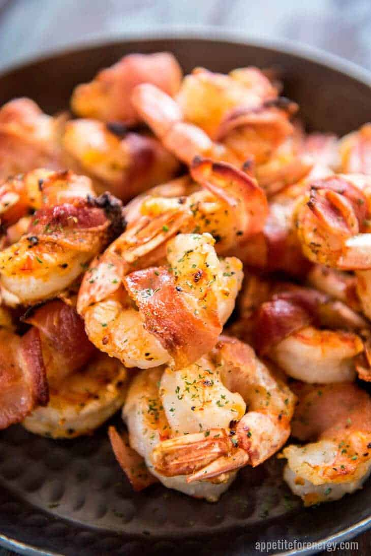 Close up shot of Bacon Wrapped Shrimp