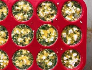 Spring Asparagus Frittata Muffins in tray before cooking