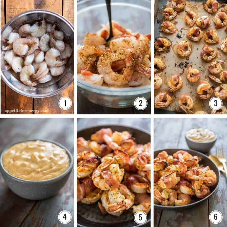 Step by step process for making Bacon Wrapped Shrimp with remoulade sauce
