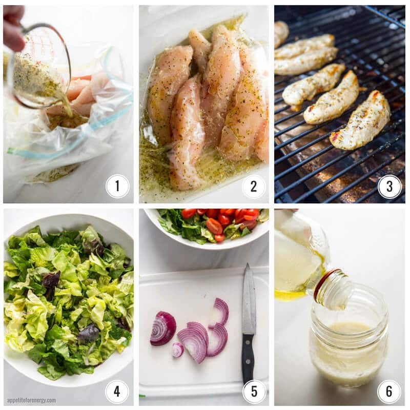 Pouring marinade onto chicken, chicken marinating in zip loc bag, chicken cooking on grill, lettuce in bowl, sliced red onion and salad bowl, making the vinaigrette