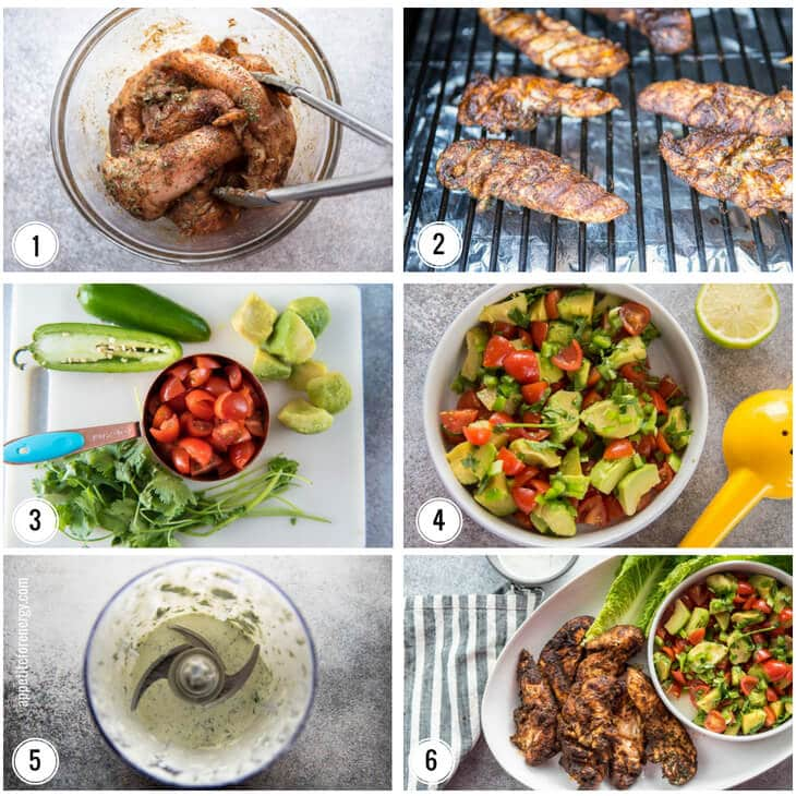 Collage showing steps to make recipe. Marinating chicken in bowl, grilling chicken, prepping veggies, avocado salsa and sour cream dressing.