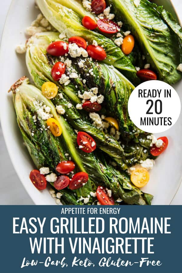 Nothing says summer like crispy grilled romaine drizzled with creamy apple cider vinaigrette and blue cheese crumbles. This healthy, low-carb salad recipe is a cinch to make for a backyard summer party, barbecue, cookout or as an everyday appetizer.  This side dish is ideal for ketogenic (keto), gluten-free and vegetarian diets. #grilledromainesalad #grilledromaine #grilledromainehearts #appleciderrecipe