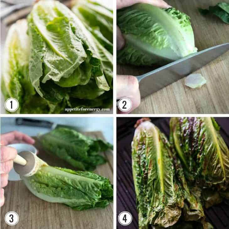 Collage showing step by step instructions for making grilled romaine