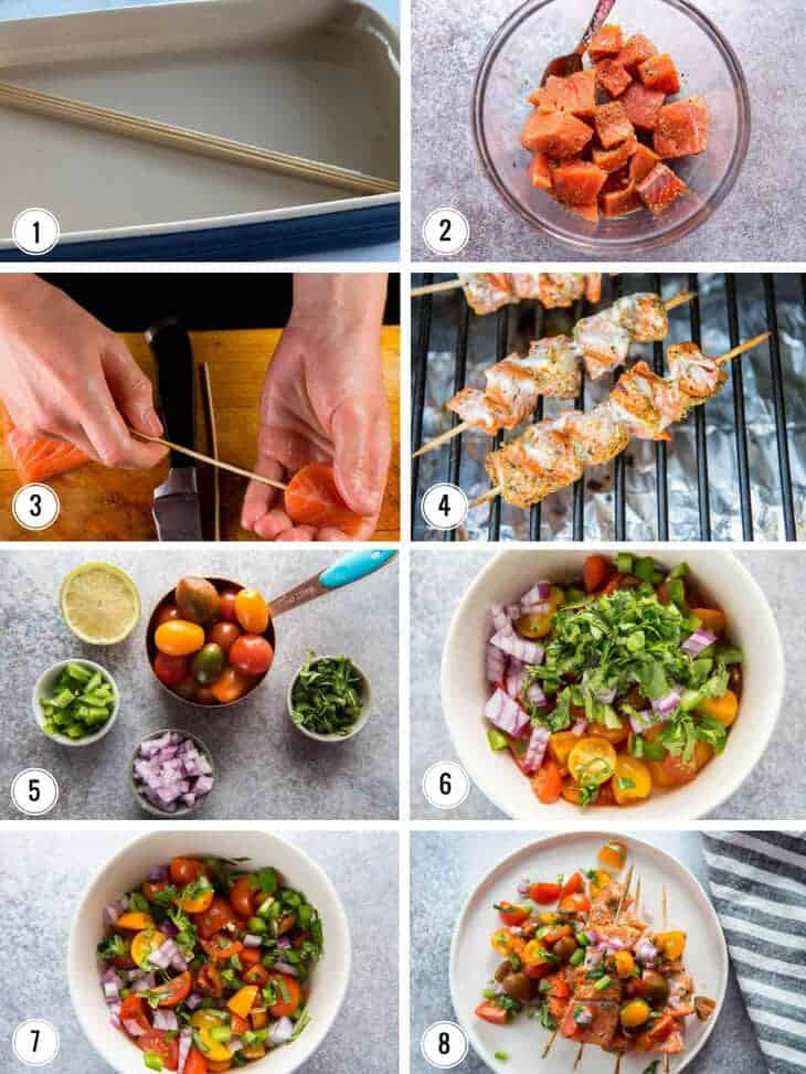 Collage showing steps in recipe including threading the salmon skewers