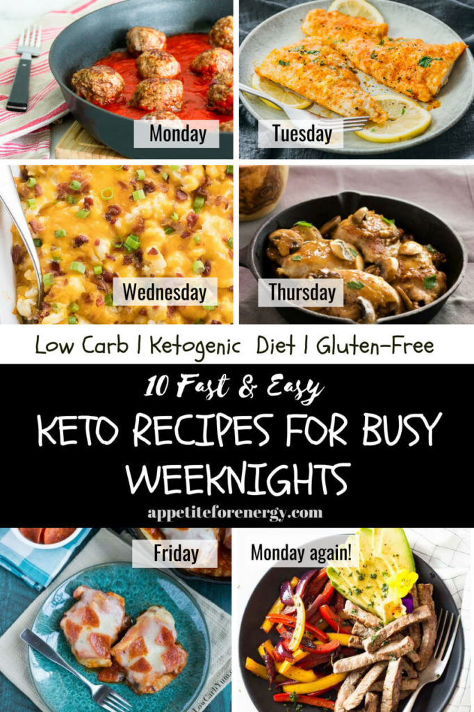 Collage showing several of the easy keto dishes