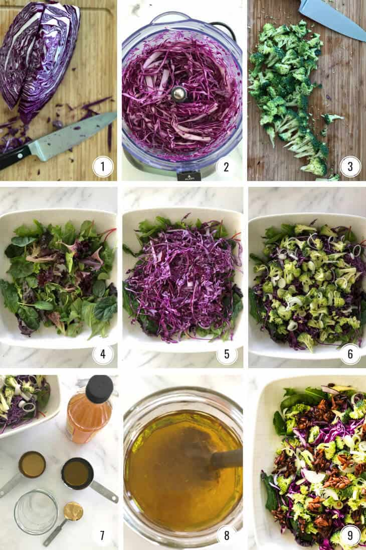 Step by step images for making Crunchy Broccoli Slaw and dressing