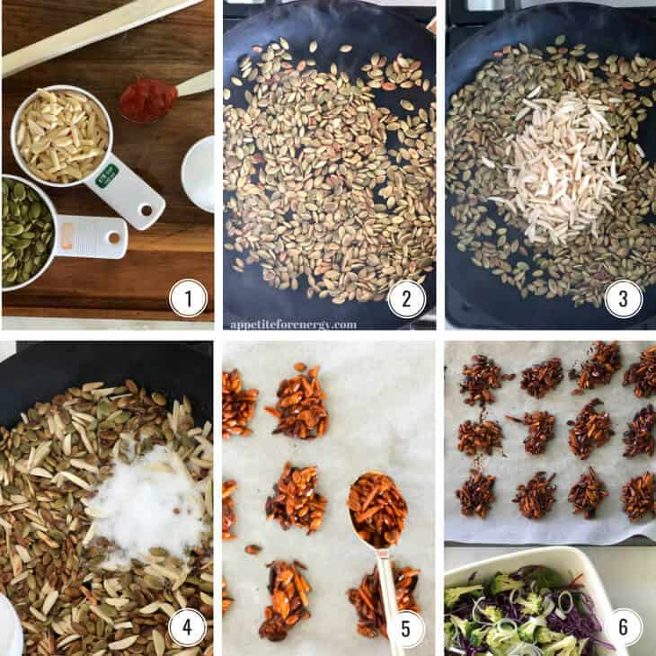 Step by step images for making Crunchy nut clusters for Broccoli Slaw