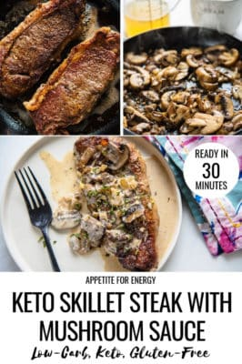 Collage with steps to making keto Skillet Strip Steak with Mushroom Sauce