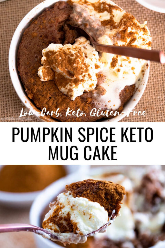Overhead shot of a spoon digging in to Pumpkin Spice Keto Mug Cake with cream