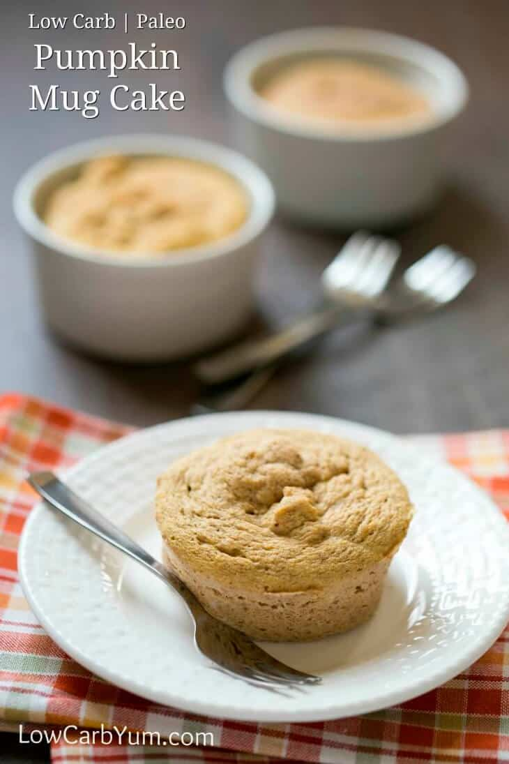 Coconut flour paleo pumpkin mug cake on a white plate with a spoon