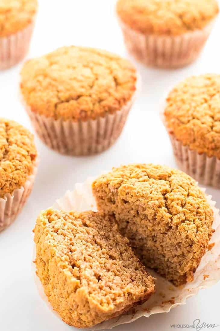 Healthy pumpkin muffins, one cut in half