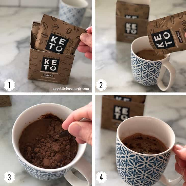 Step by step images showing how to make Perfect Keto Instant Keto Coffee