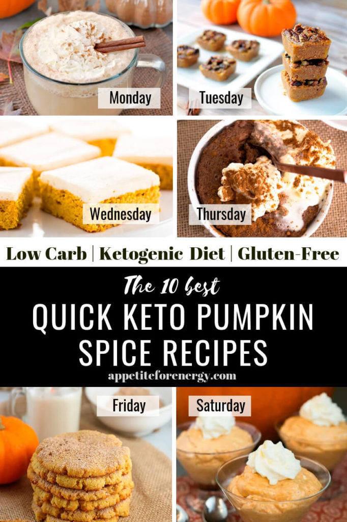 Collage showing 6 of the recipes from 10 Best Quick Keto Pumpkin Spice Recipes