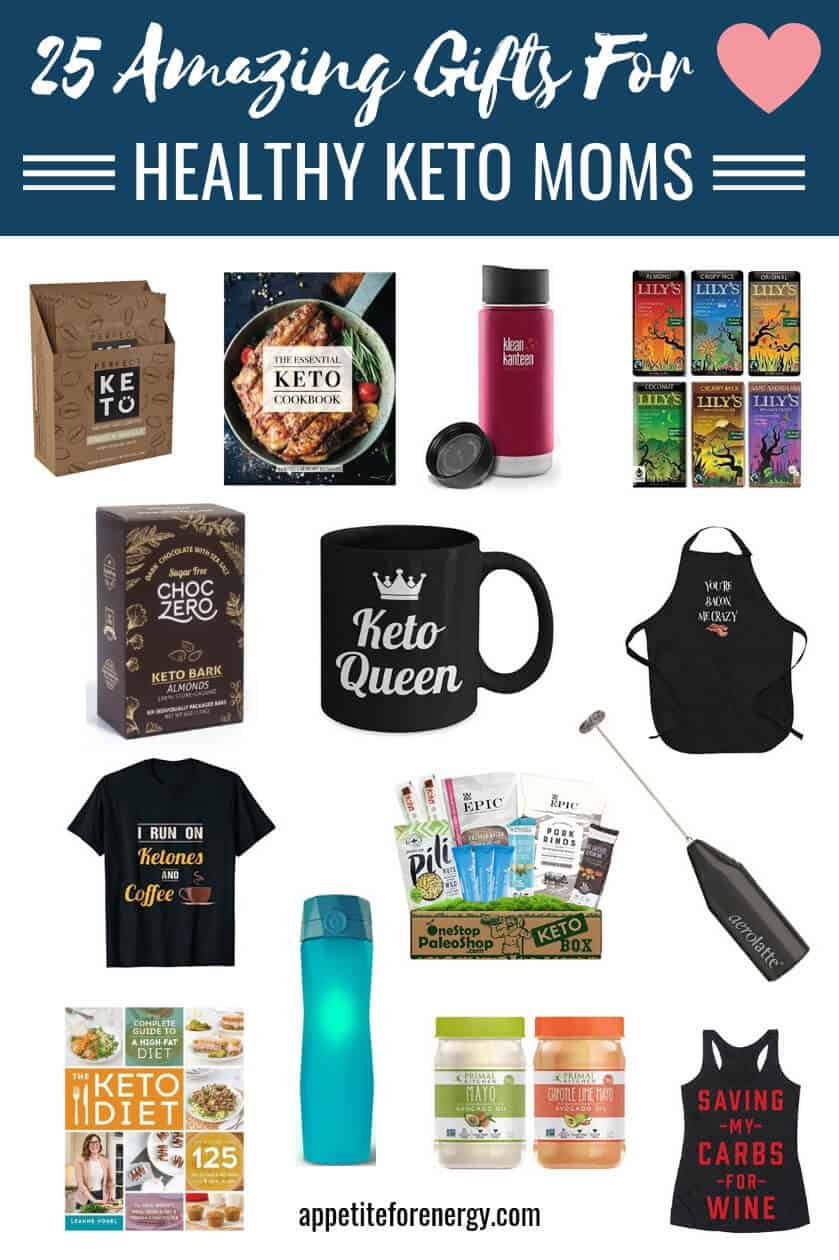 Show moms and women following a ketogenic diet some love with these amazing presents that celebrate the low-carb lifestyle.  We've selected 25 fabulous healthy gift ideas to choose from including fun and novelty gifts, low-carb foods such as chocolate fudge, keto recipe books, tools & gadgets and subscriptions. Ideal gift giving from daughters, sons, friends or partners. #gifts #giftguide #momgifts #holidaygift #ketogifts