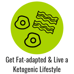 Green icon with bacon and eggs representing getting fat adapted