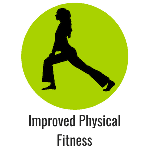 Green icon with lady stretching representing improved physical fitness