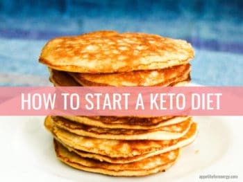 A stack of keto pancakes on a white table with a blue background
