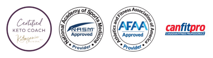 Ketogenic Diet Certifications and Qualifications Badges - Ketogenic Living Coach, NASM, AFAA, CanFitPro