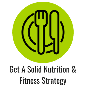 Green icon with a plate and knife and fork representing nutrition
