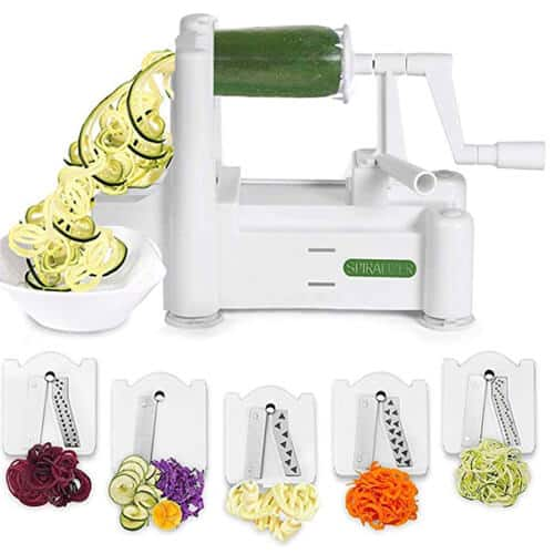 5 blade spiralizer with examples of different vegetables spiralized