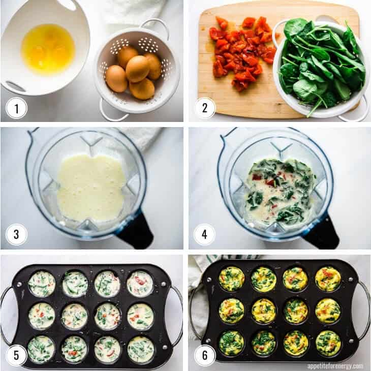 Step by step images for making Spinach and Red Pepper Egg Bites