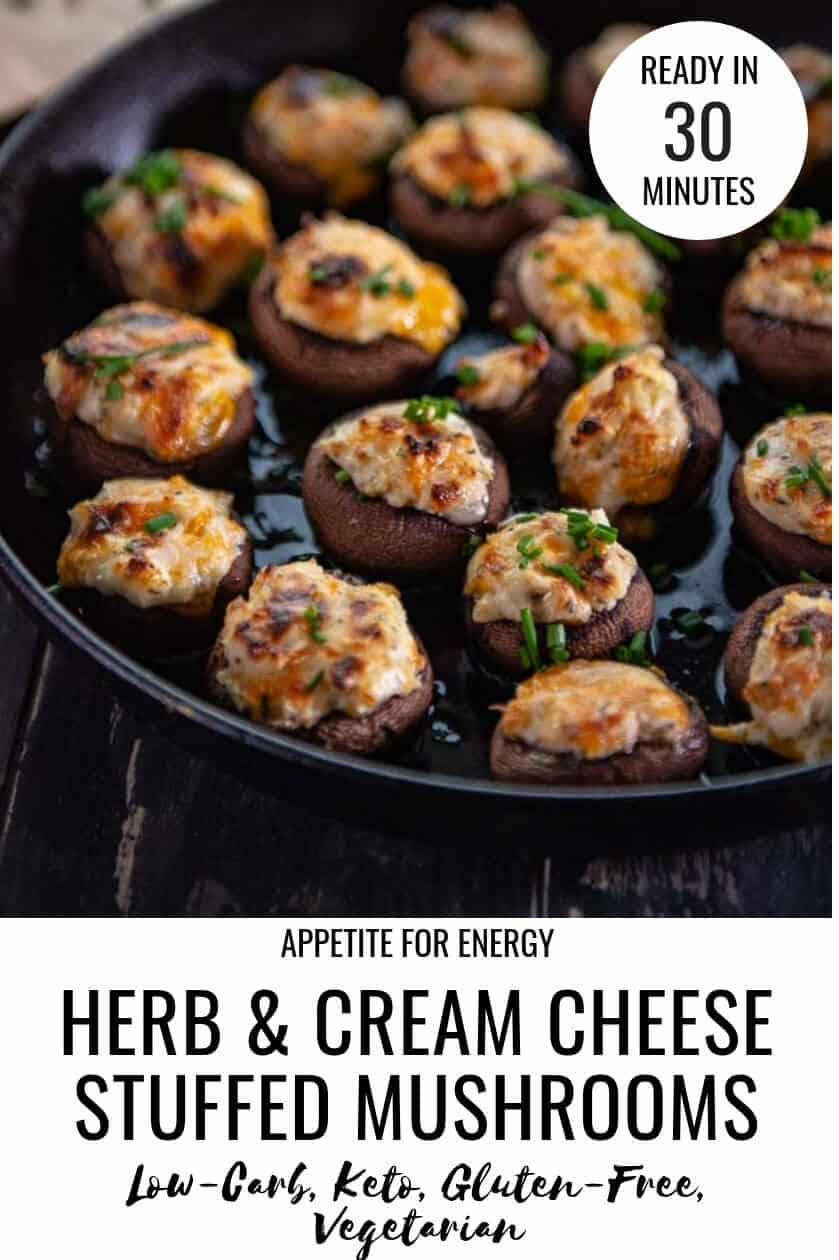 Super delicious, cheesey stuffed mushrooms are the ideal one-bite appetizer to wow guests at parties whether served hot, baked in the oven or at room temperature. Ready in 30-minutes, this easy recipe is a healthy hors d'oeuvre, great for those who are gluten-free, vegetarian or following a low-carb or ketogenic diet. #stuffedmushrooms #keto #glutenfree #vegetarian #gameday