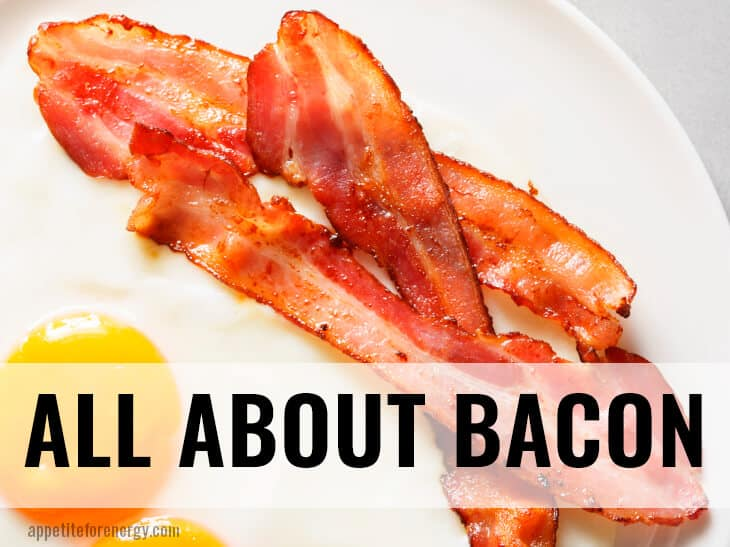 Delicious looking cooked bacon on a white plate with fried eggs