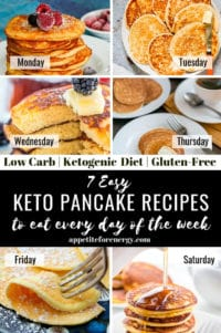 Collage showing each keto pancake recipe and the days of the week to eat them