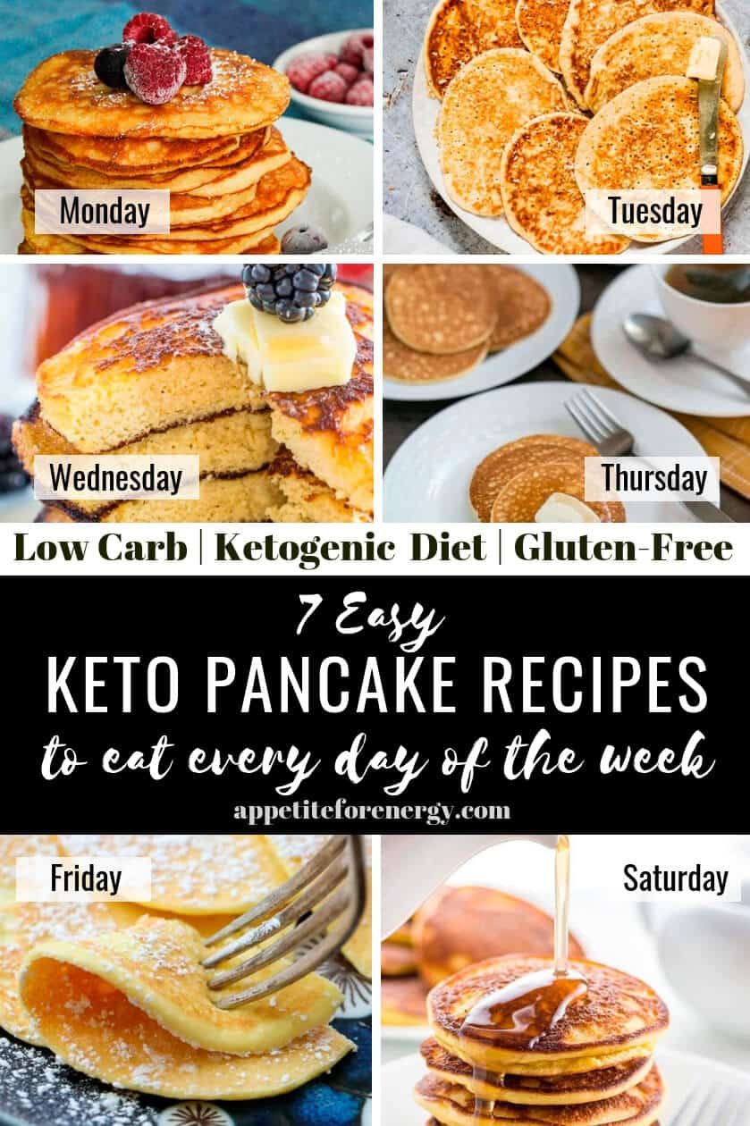 You don't need to save pancakes for a weekend treat with these simple, light and fluffy keto pancake recipes. Start Monday with easy 2 ingredient pancakes then move on to the recipes using almond flour, coconut flour, cream cheese or go dairy-free. Gluten-free, ketogenic, sugar-free and low-carb. #keto #pancakes #glutenfree #ketobreakfast