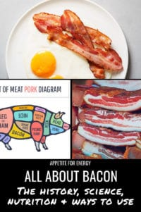 Bacon & eggs on a plate, diagram of pig and cuts of meat, stack of cured pork belly
