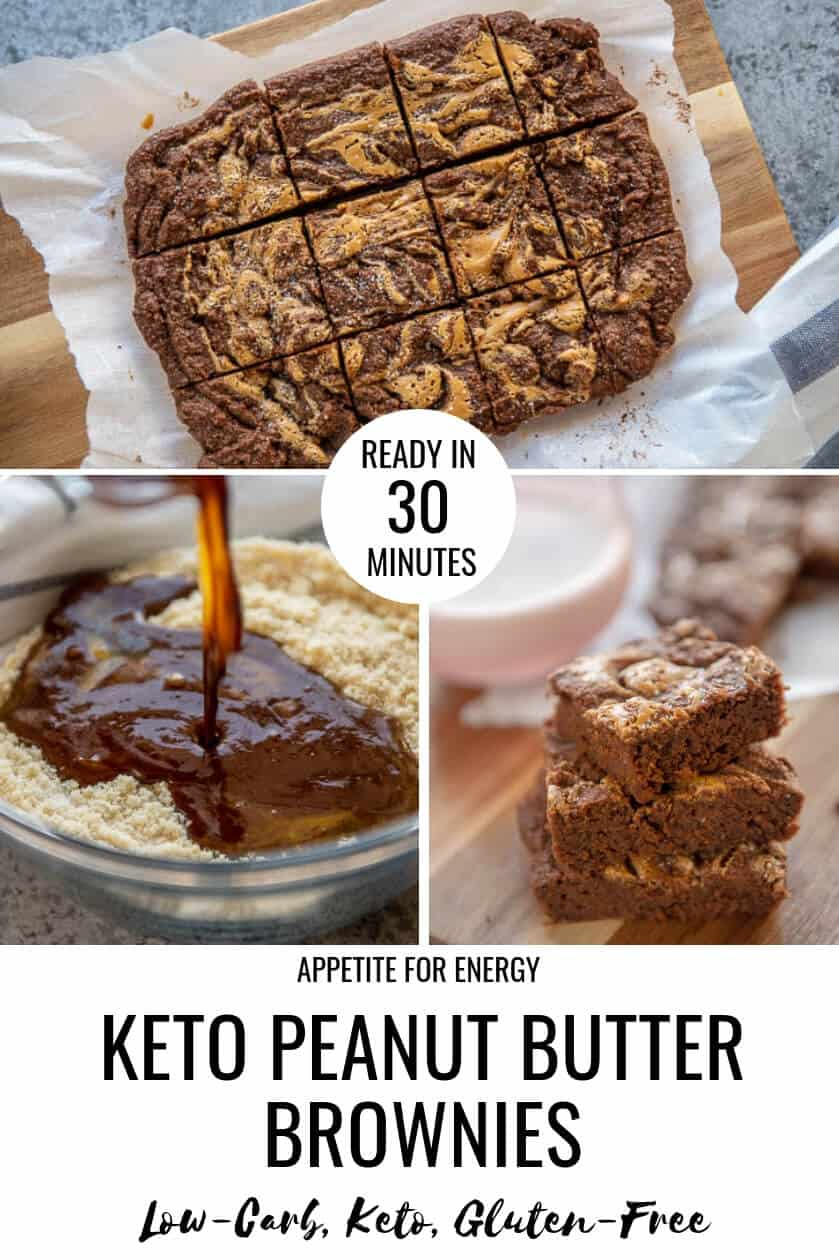 They're sweet, fudgey and swirled with peanut butter. Keto Peanut Butter Chocolate Brownies are the best sugar-free, gluten-free brownie recipe you'll find. You'll love our healthy, made from scratch, low-carb brownie.  With only 2g of net carbs per brownie, who doesn't want a stash of these? Flourless and ketogenic diet (keto) friendly. #brownies #keto #ketobrownies #peanutbutterbrownies