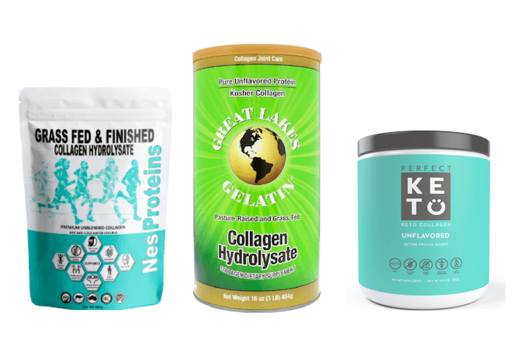 Packets of Nesproteins collagen, Great Lakes collagen and Perfect Keto Collagen