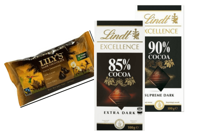 Packet of Lily's sugar free chocolate and blocks of Lindt 85% and 90% cocoa chocolate