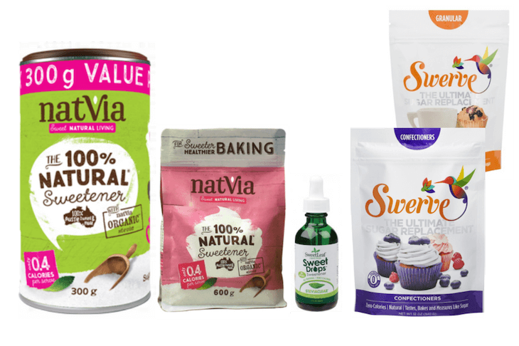 Keto sweeteners - Natvia granular and baking, bottle of Sweetleaf liquid stevia and packets of Swerve erythritol