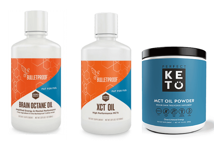 Bottles of Bulletproof Brain Octane, XCT oil and Perfect Keto MCT oil powder