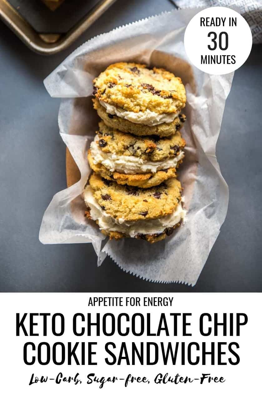 Three Keto Chocolate Chip Cookie Sandwiches arranged in a tray with parchment paper