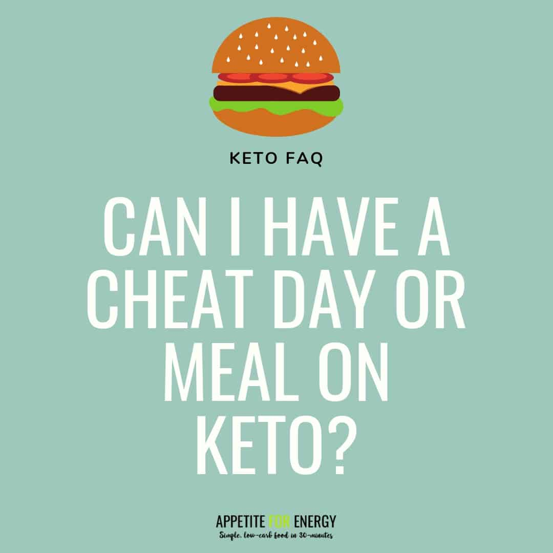 "Burger image with text saying ""can I have a cheat day or meal on keto?"""
