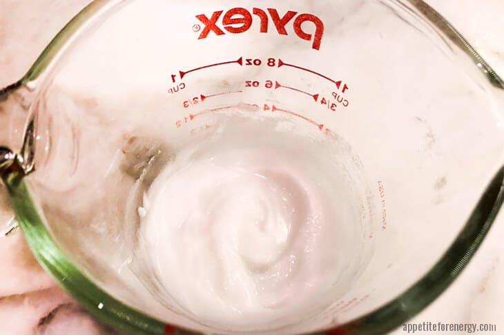Step 4 Making cinnamon roll frosting in glass pyrex jug