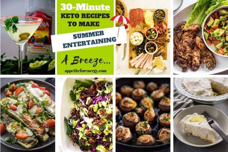 Collage showing several easy summer dishes for the keto diet